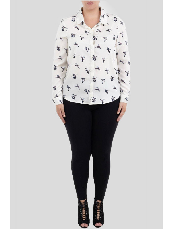 Emily Plus Size Bird Printed Shirt 16-22