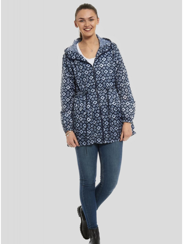 Marie Navy Lines Printed Raincoats S-L