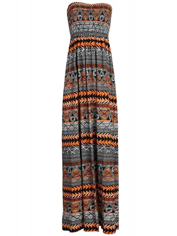 ESHAL Orange Aztec Boob Tube Maxi Dress 8-14