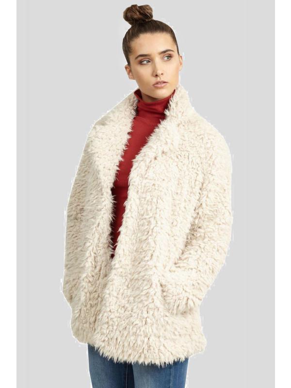 Laina Plus Size Faux Fur Popper Fastening Jacket Coat 16-24