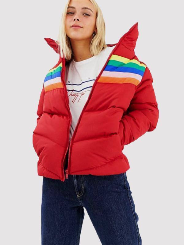 Ffion Rainbow Stripe Design Insert Padded Jacket 8-16