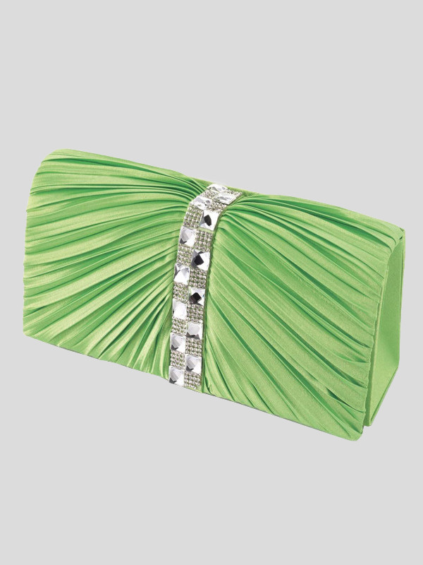 Florence Neon Green Ruffle Crystal Clutch bags