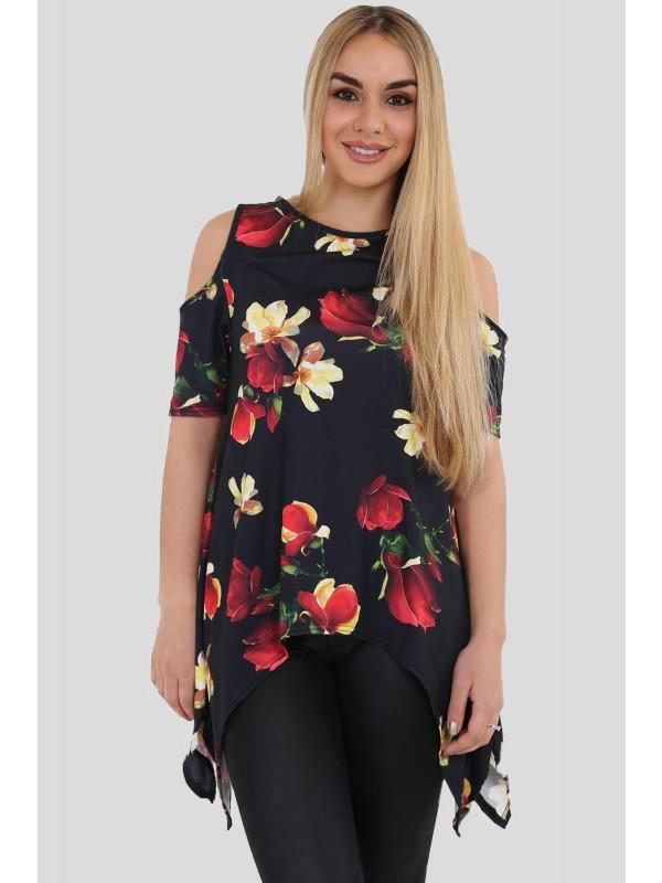 Freya Cold Shoulder Uneven Hem Black Red Floral Tops 8-26