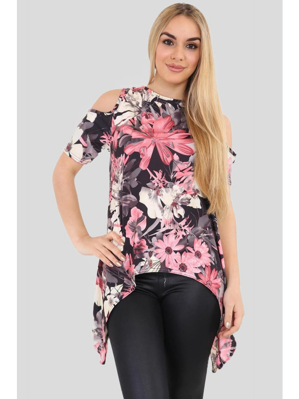 Freya Plus Size Cold Shoulder Hanky Hem Black Coral Floral Tops 16-26