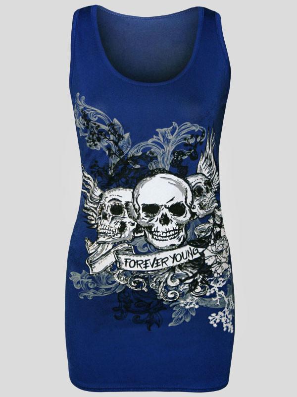 Gia Halloween Danger Skull Sequin Fitted Vest Top 8-14