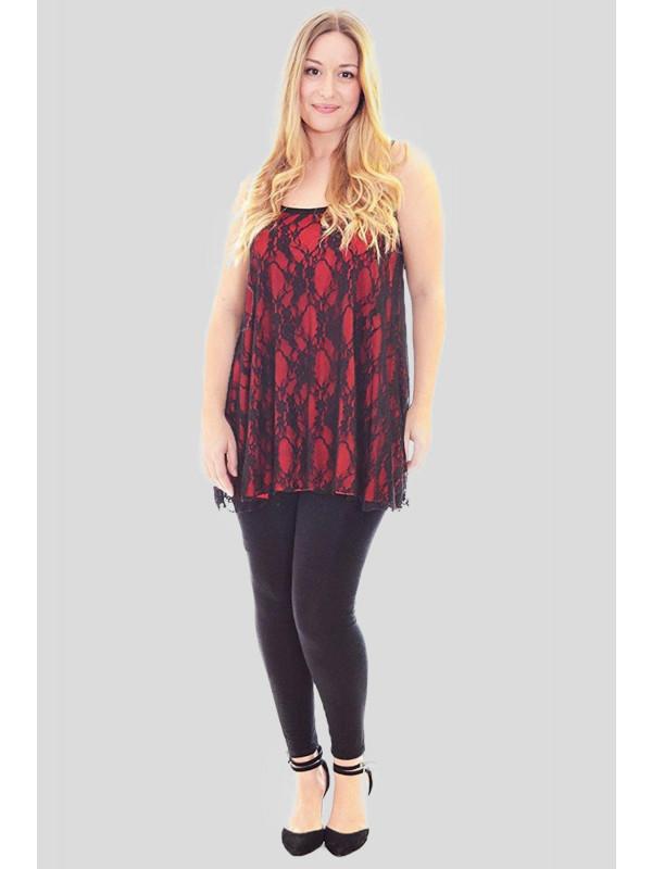 Jemima contrast Floral Lace Strappy Vest Tops 12-14