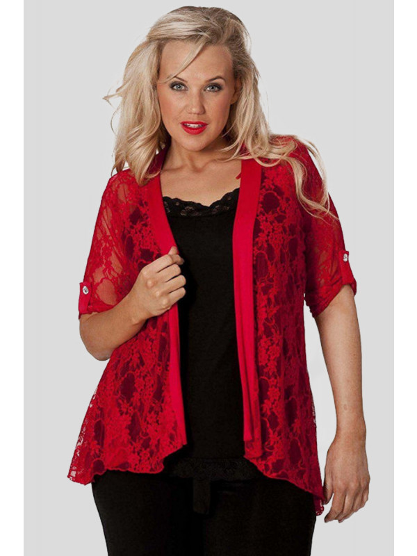 Grace Plus Size Diamonte Lace Floral Cardigans 16-28