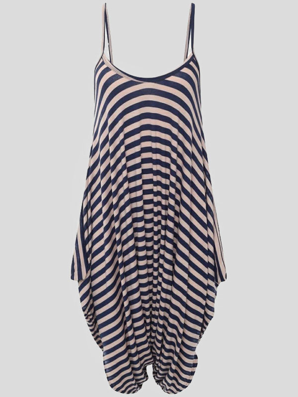 Ayva Navy Stripe Printed Lagenlook Jumpsuit 8-14
