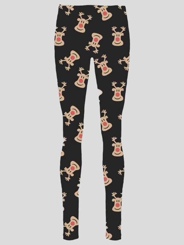 Hollie Plus Size Rudolph Face Print Xmas Leggings 16-34