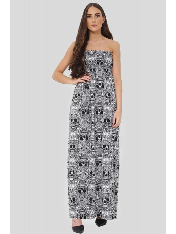 Imogen Plus Size Skull Bones Print Boob Tube Maxi Dress 16-26