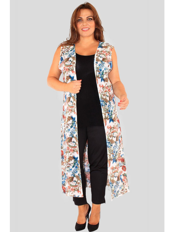 Imogen Plus Size Teal Flower Chiffon Maxi Waistcoat 16-26
