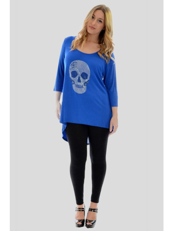 Lila Skull Head Plus Size Dip Hem ¾ Sleeve Scoop Neck Tops 16-28