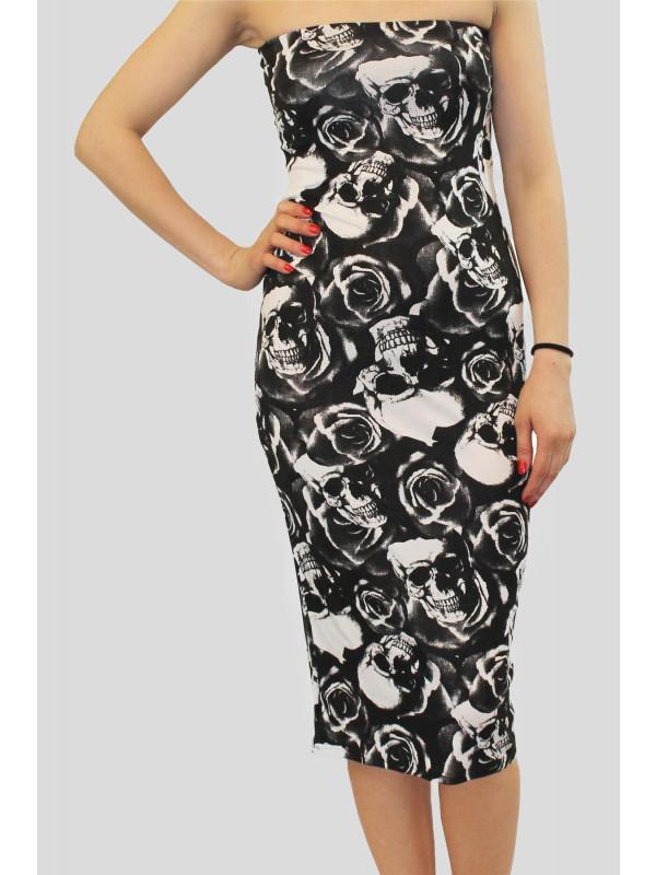 KATY Skull Rose Print Dress 8-14