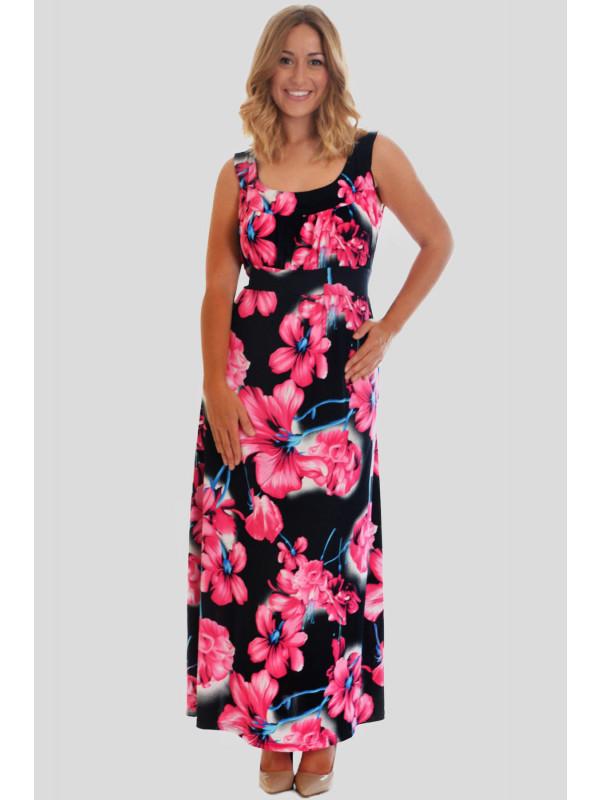 Izzy Seasonal Floral Print Long Maxi Dress 14-16