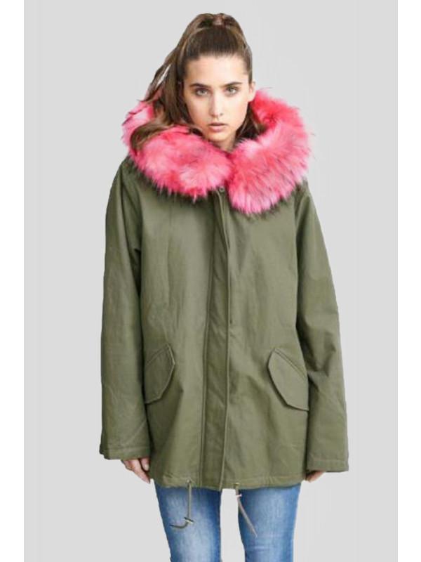 Janelle Coral colour Faux Fur Hooded Jackets Coats 8-16