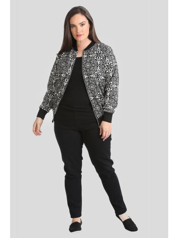 Macy Plus Size Zip Up Ribbed Bomber Blazer Jacket 16-28