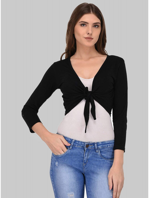 Julie Tie Knot Front Open Cropped Shrugs Cardigan Top 8-14