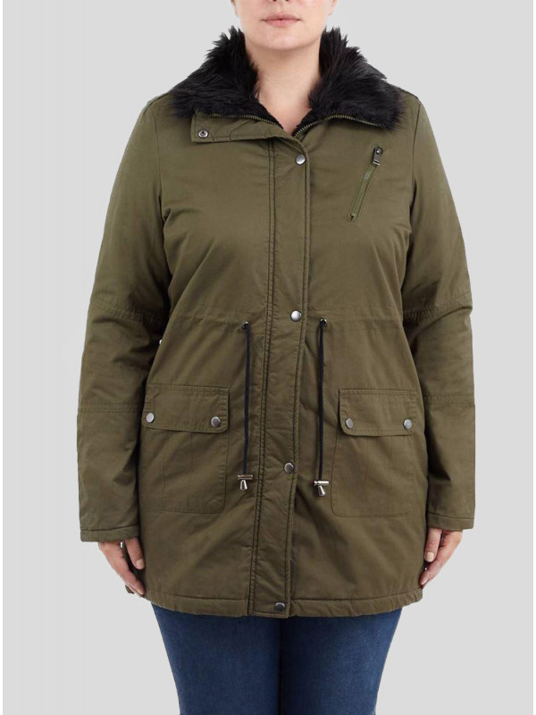 Ciara  Plus Size Twill Chunky Fur Collared Parka Jacket 16-24