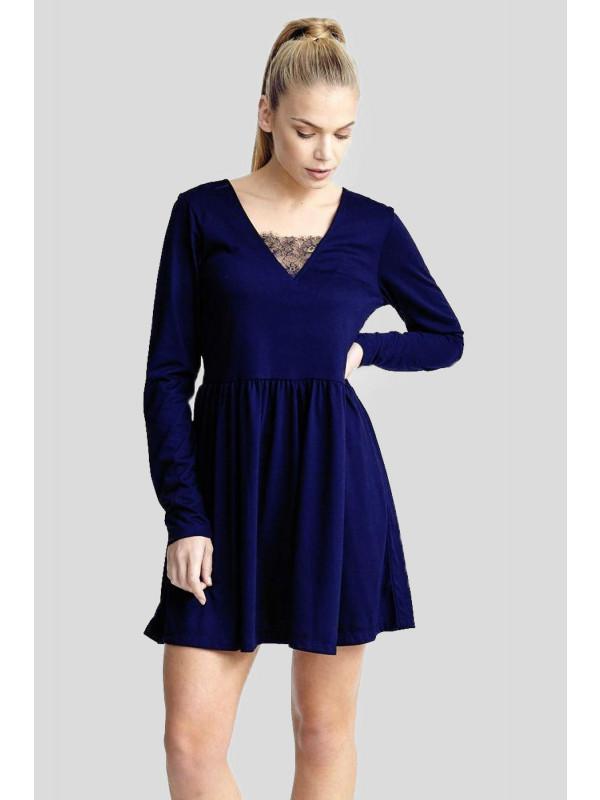 Kathryn Plus Size V-Neck Lace Band Flared Skater Dress 16-22