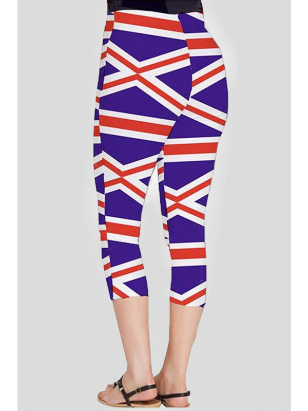 Katie Plus Size Union Jack Flag Printed 3/4 Leggings 16-26