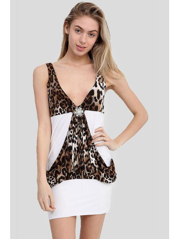 Kayla Strappy Animal Print Stretch Bodycon dress 8-14