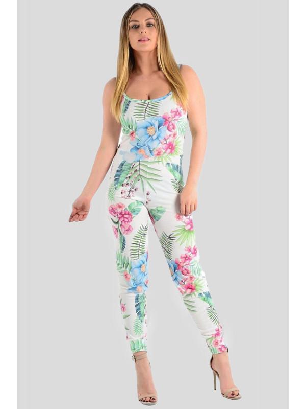 Keeva Camisole Floral Leaf Print Jumpsuit 8-14