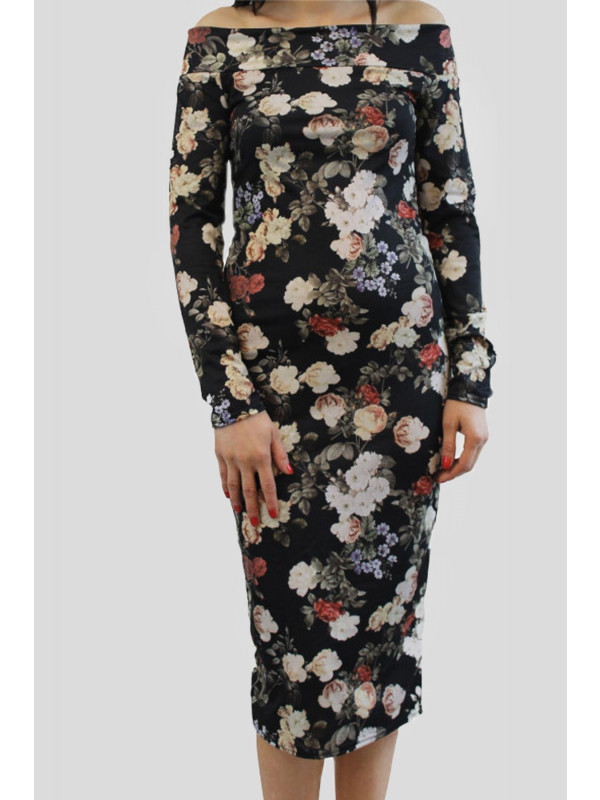 LAIBA Black Floral Off Shoulder Midi Dress 8-14