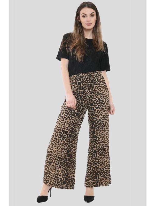 Jennifer Plus Size Leopard Print Palazzos 16-30