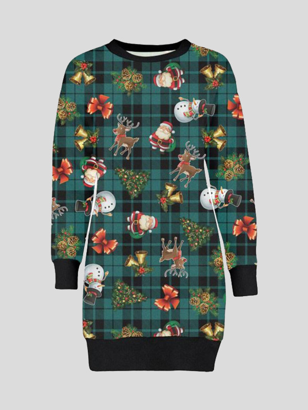 Eleanor Plus Size Tartan Reindeer Print Jumpers 16-22