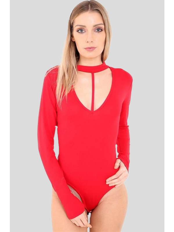 NOA Chocker String V Neck Split Strap Leotard Bodysuit 8-14