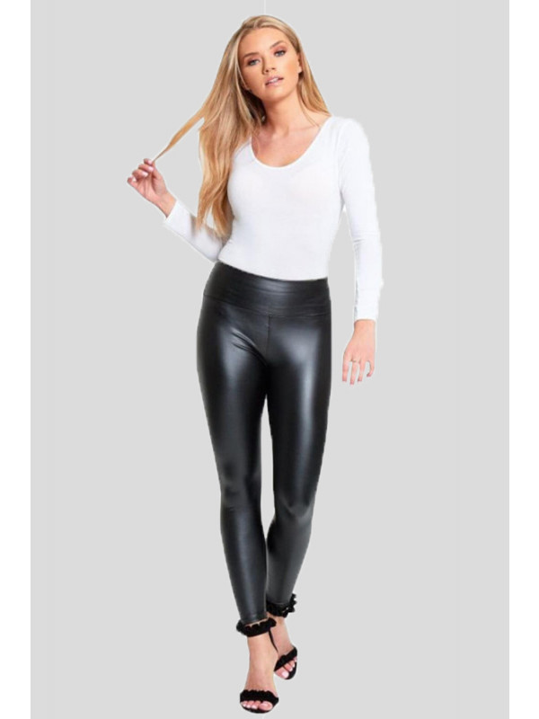 Alisa High Waisted PVC Wet Look Leggings 8-14