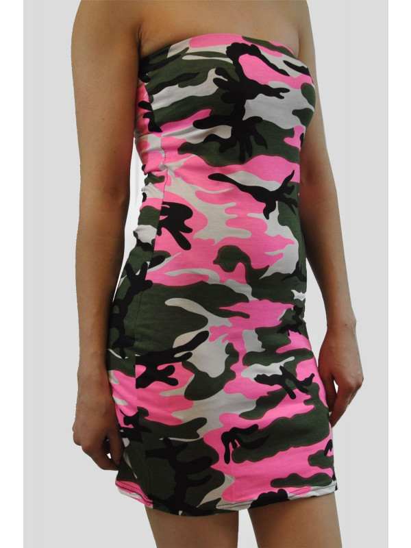 PEGGY Pink Army Bodycon Mini Dress 8-14