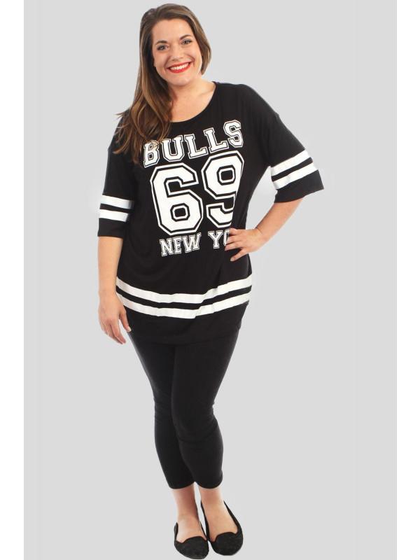Madison Plus Size Baseball Stripy T-Shirts 16-26