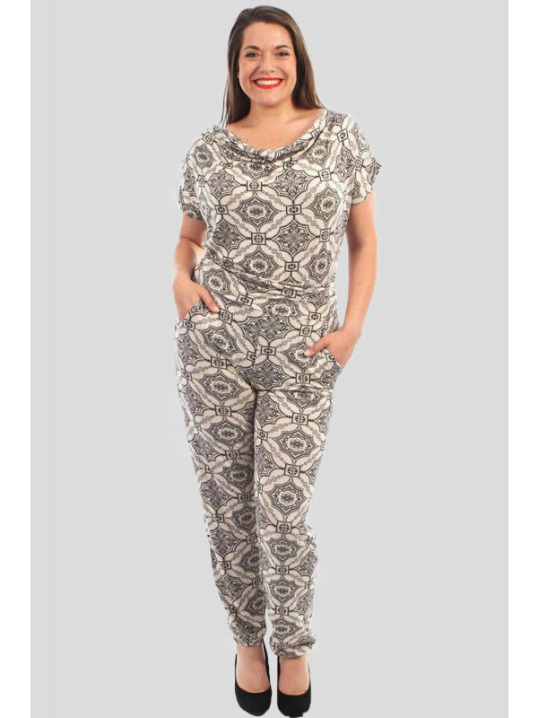 Maisie Plus Size Black Floral Jumpsuits 16-28