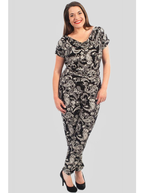 Maisie Plus Size Paisely Print Hareem Jumpsuits Dress 16-28