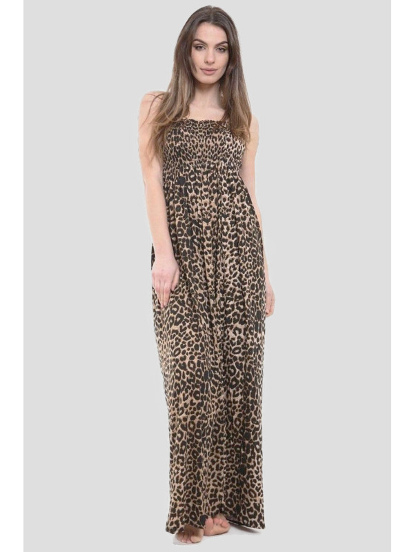 Lavinia Leopard Boob Tube Maxi Dress 8-14