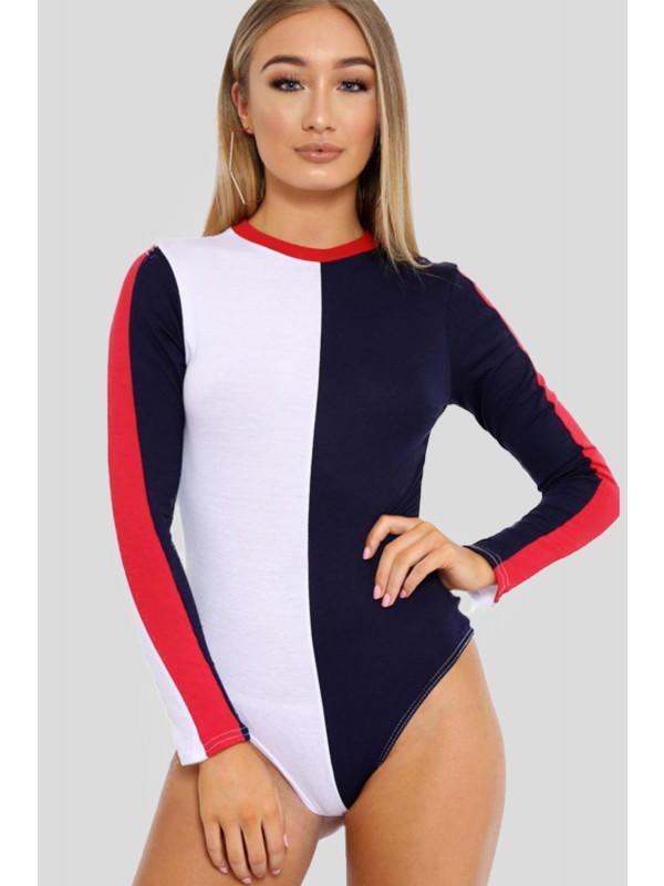Maiya Stripe Contrast Block Colour Leotard Bodysuit 8-14