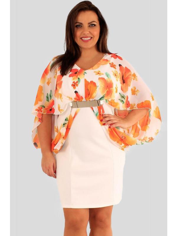 Matilda Plus Size Cream Chiffon Kimono Sleeve Top 18-24