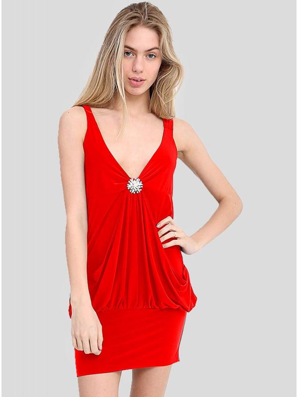 Matilda Plus Size Diamante Broach Frill Fall Dress Top 16-22