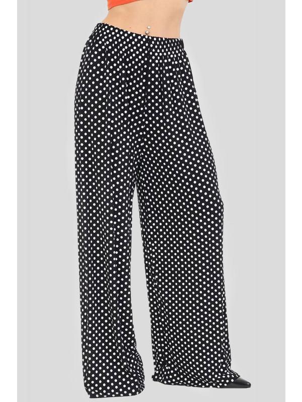 Nicole Plus Size Black Dots Print Palazzos 16-30