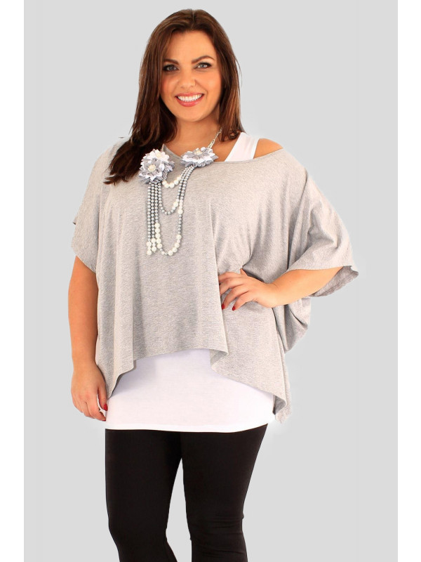 Megan Plus Size Light Grey 2 In 1 Necklace Tops 16-26