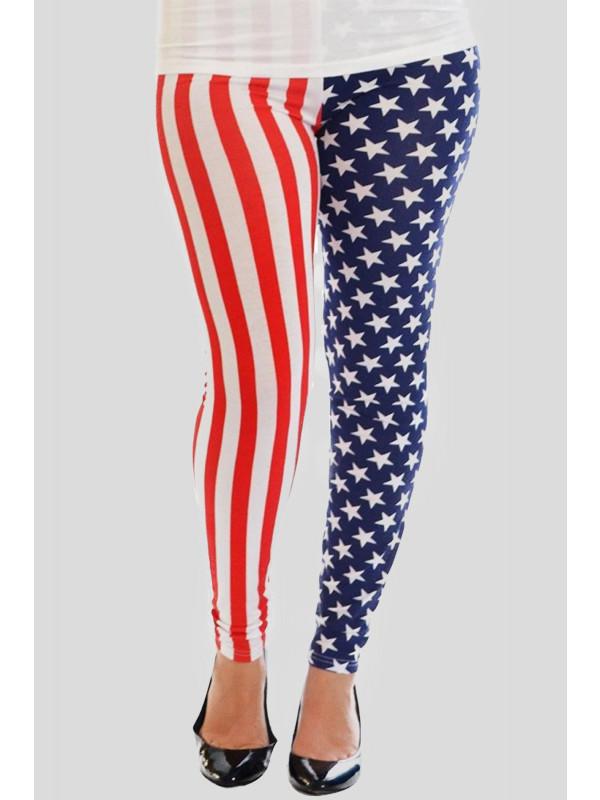Mia Plus Size American Flag All Over Print Leggings 16-26