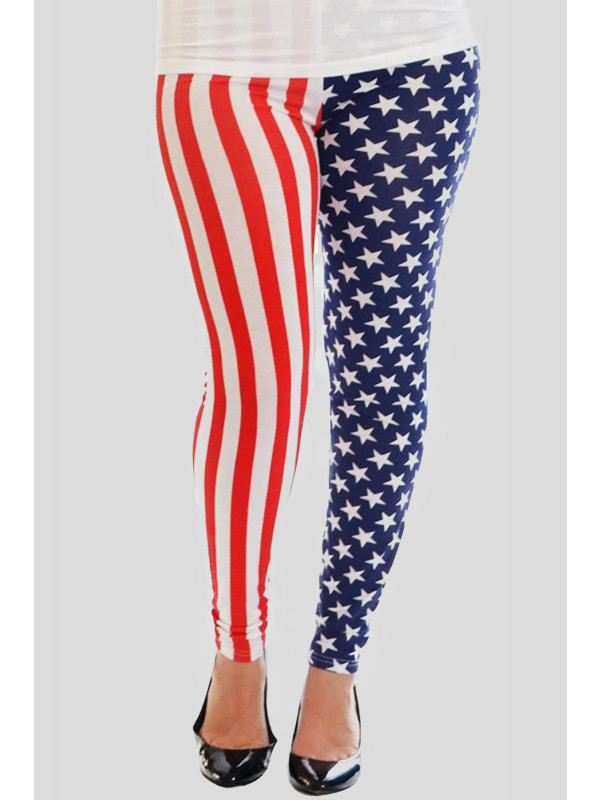 KATY American Flag All Over Print Leggings 12-14