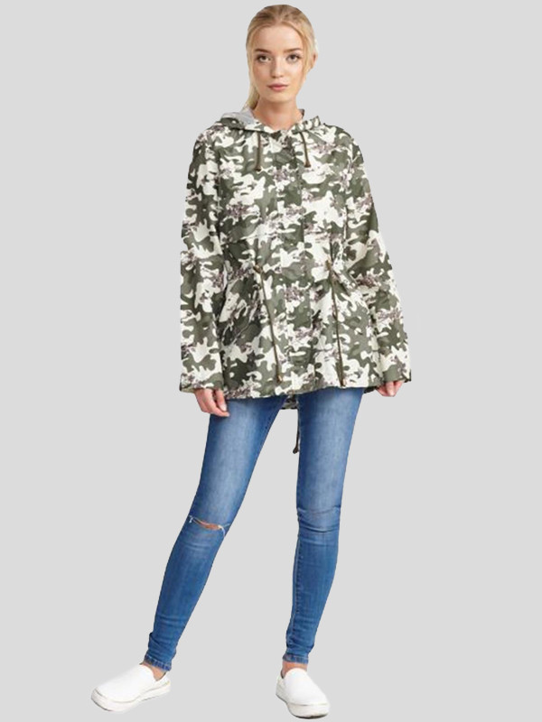 Milena Plus Size Camouflage Print Hooded Raincoat Jackets 16-24