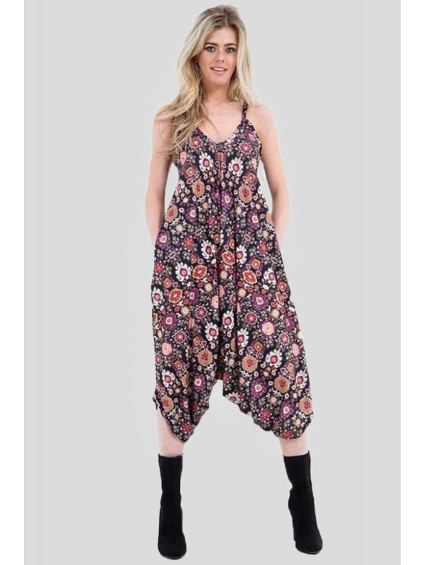 Millie Plus Size Multi Floral Printed Lagenlook Jumpsuit 16-26