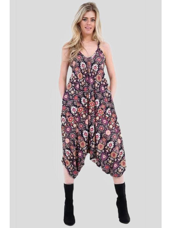 Daniela  Multi Floral Printed Lagenlook Jumpsuit 8-14