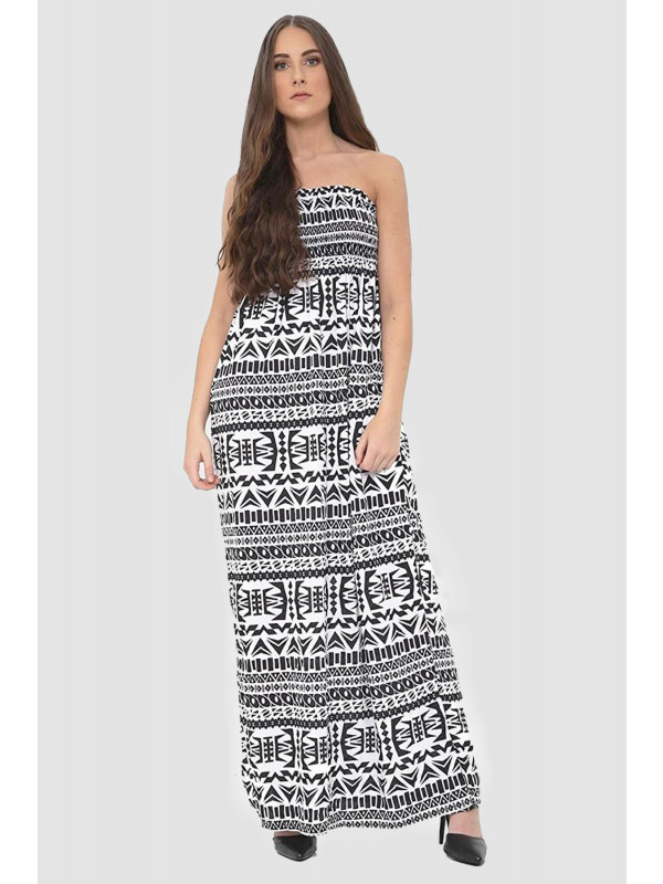 CECILY Aztec Boob Tube Maxi Dress 8-14