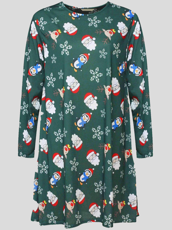 NAHLA Plus Size Xmas Santa Print Flared Skater Dress 16-26