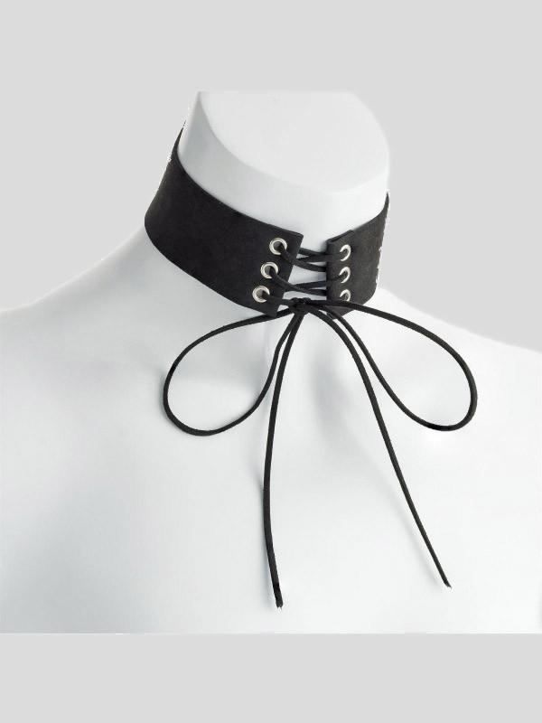 Nancy Velvet Look Platted Tie Choker Necklace
