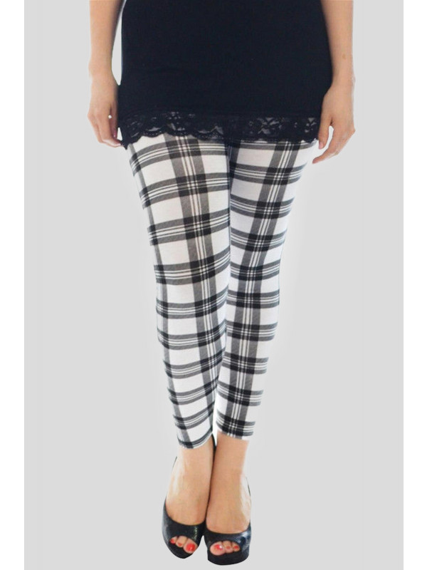 Ayra Plus Size White Tartan Print Leggings 16-26